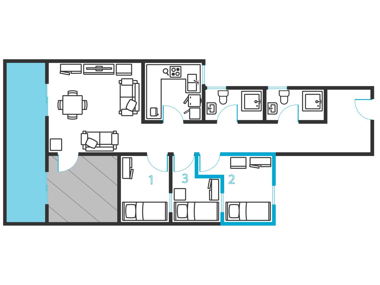 Comfortabele een slaapkamer dicht bij iub nefc barcelona ref 30205 350 met inclusief g w l - Plan slaapkamer kleedkamer ...
