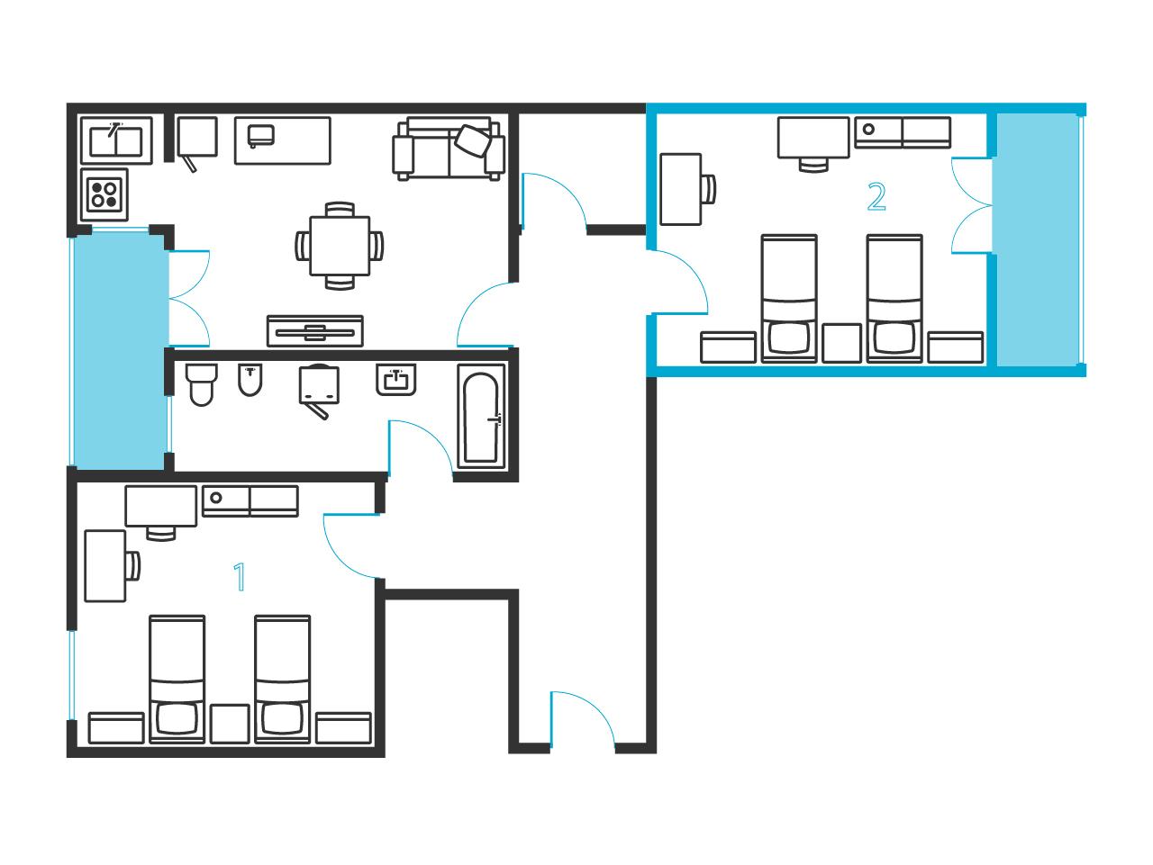 einem bett in zimmer mit zwei betten mit balkon in 2 raumwohnung ref 50677 280 mit w. Black Bedroom Furniture Sets. Home Design Ideas