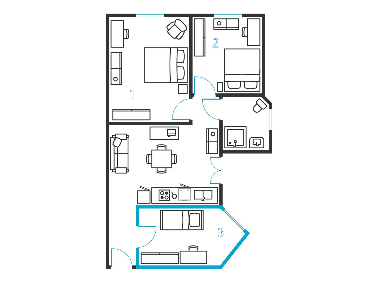 Chambre simple dans un appartement de 3 chambres ref for Plan appartement 3 chambres
